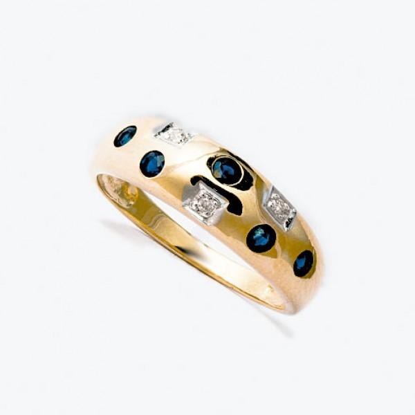 Ювелирное кольцо из красного золота 585 пробы с сапфирами и бриллиантами RS-6048