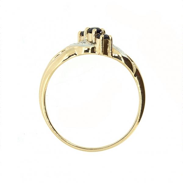 Ювелирное кольцо из красного золота 585 пробы с сапфирами и бриллиантами RS-6053