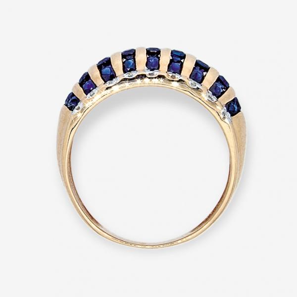 Ювелирное кольцо из красного золота 585 пробы с сапфирами и бриллиантами RS-6115