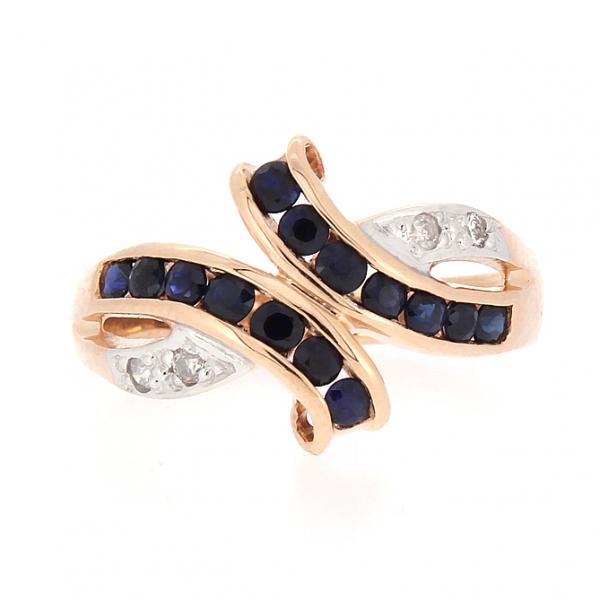 Ювелирное кольцо из красного золота 585 пробы с сапфирами и бриллиантами RS-6116