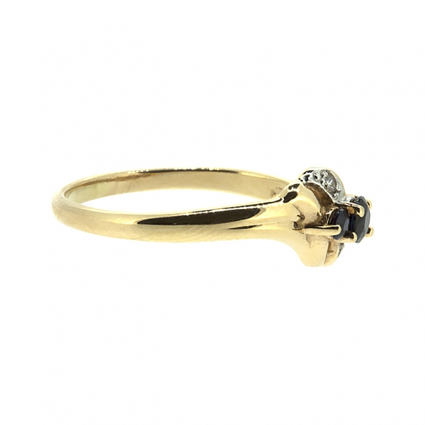 Ювелирное кольцо из красного золота 585 пробы с сапфирами и бриллиантами RS-6129