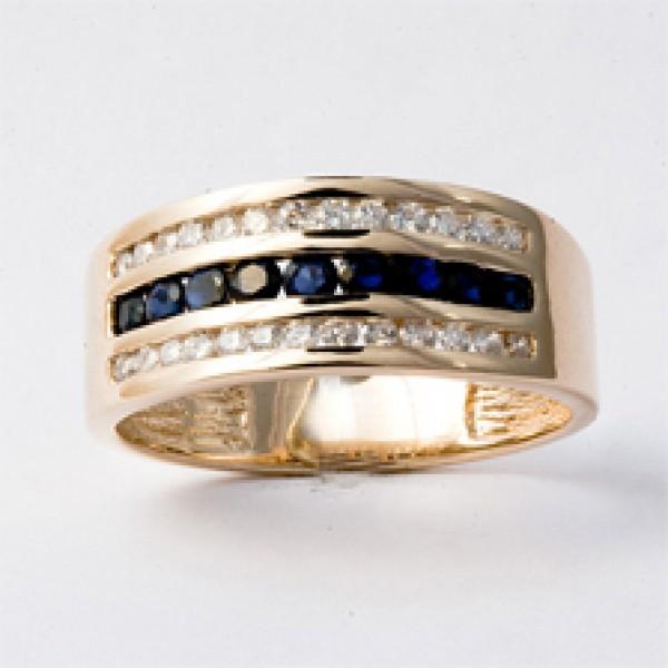 Ювелирное кольцо из красного золота 585 пробы с сапфирами и бриллиантами RS-6130