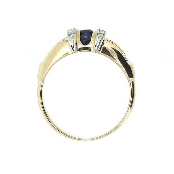 Ювелирное кольцо из красного золота 585 пробы с сапфирами и бриллиантами RS-6195