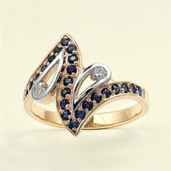 Ювелирное кольцо из красного золота 585 пробы с сапфирами и бриллиантами RS-6452