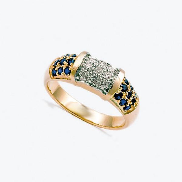 Ювелирное кольцо из красного золота 585 пробы с сапфирами и бриллиантами RS-6455