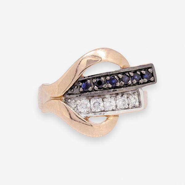 Ювелирное кольцо из красного золота 585 пробы с сапфирами и бриллиантами RS-6456