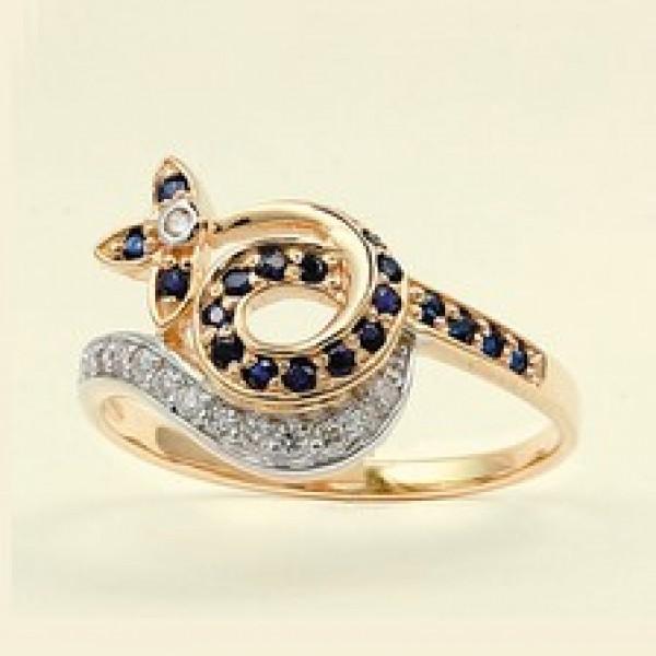 Ювелирное кольцо из красного золота 585 пробы с сапфирами и бриллиантами RS-6459