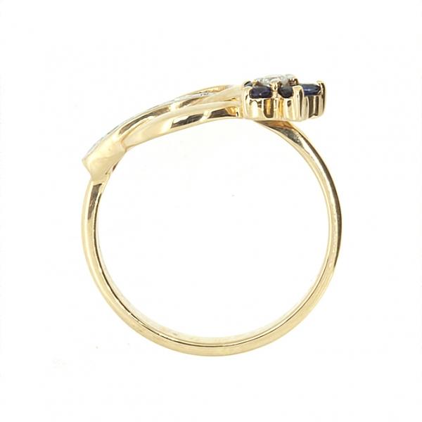Ювелирное кольцо из красного золота 585 пробы с сапфирами и бриллиантами RS-6488