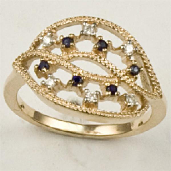Ювелирное кольцо из красного золота 585 пробы с сапфирами и бриллиантами RS-6544