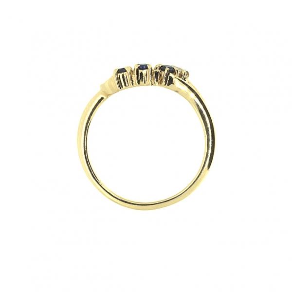 Ювелирное кольцо из красного золота 585 пробы с сапфирами и бриллиантом RS-7163
