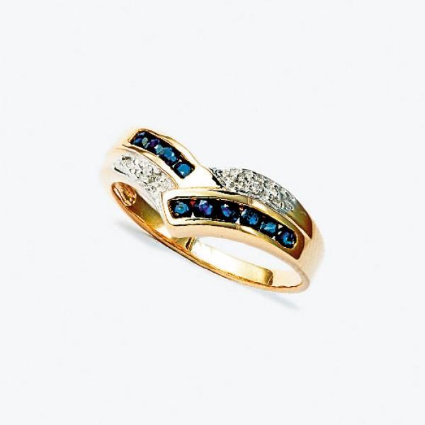 Ювелирное кольцо из красного золота 585 пробы с сапфирами и бриллиантами RS-13341
