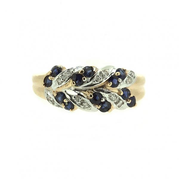 Ювелирное кольцо из красного золота 585 пробы с сапфирами и бриллиантами RS-15089