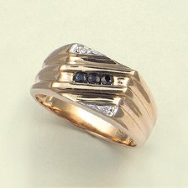 Ювелирное мужское кольцо из красного золота 585 пробы с сапфирами и бриллиантами RS-49631