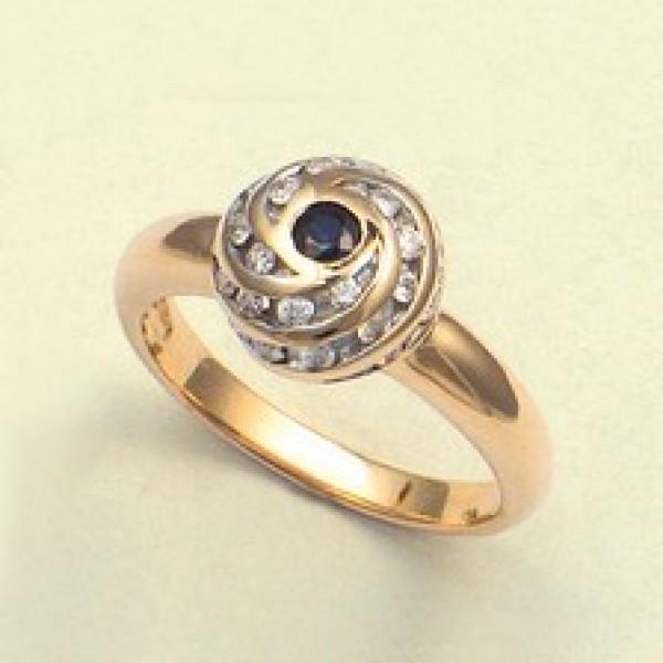 Ювелирное кольцо из красного золота 585 пробы с сапфиром и бриллиантами RS-6007