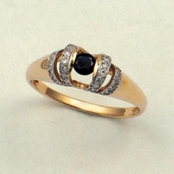 Ювелирное кольцо из красного золота 585 пробы с сапфиром и бриллиантами RS-6144