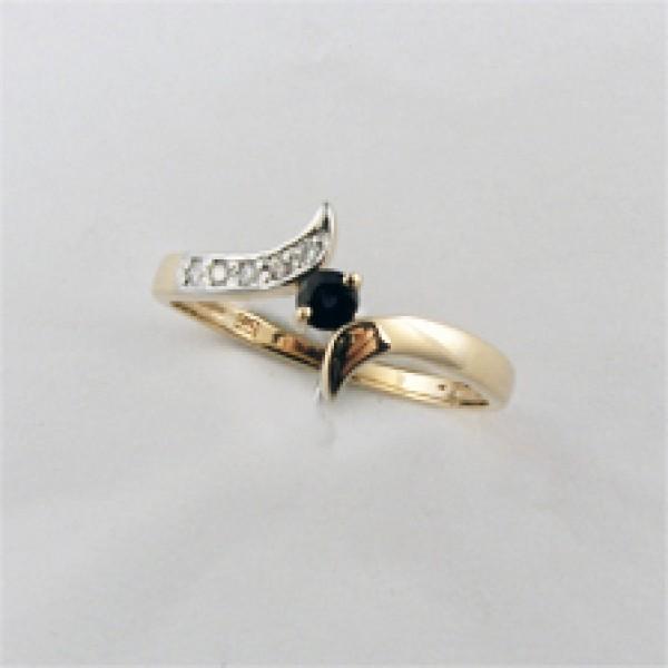 Ювелирное кольцо из красного золота 585 пробы с сапфиром и бриллиантами RS-6274