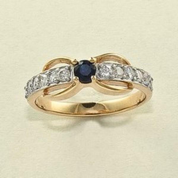 Ювелирное кольцо из красного золота 585 пробы с сапфиром и бриллиантами RS-6504