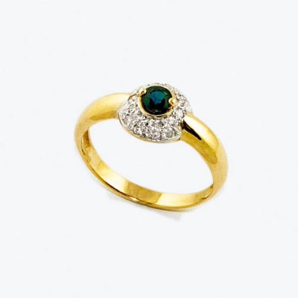 Ювелирное кольцо из красного золота 585 пробы с сапфиром и бриллиантами RS-6588