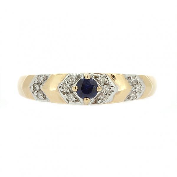 Ювелирное кольцо из красного золота 585 пробы с сапфиром и бриллиантами RS-9026