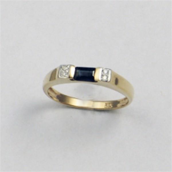 Ювелирное кольцо из красного золота 585 пробы с сапфиром и бриллиантами RS-6074