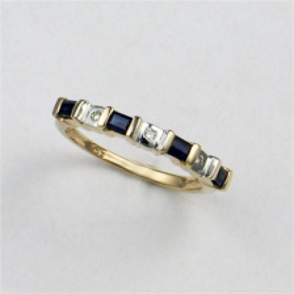 Ювелирное кольцо из красного золота 585 пробы с сапфирами и бриллиантами RS-6125