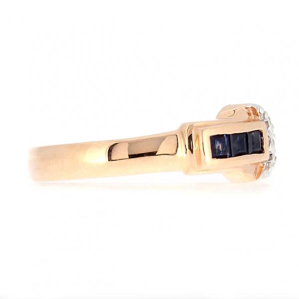 Ювелирное кольцо из красного золота 585 пробы с сапфирами и бриллиантами RS-6097