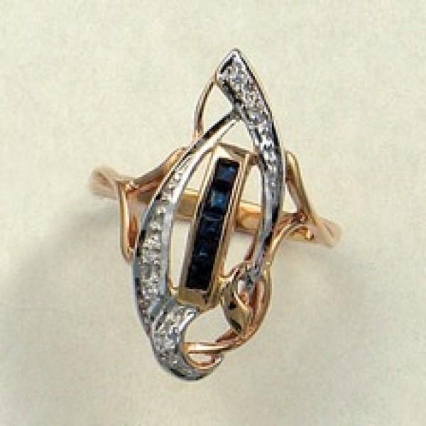 Ювелирное кольцо из красного золота 585 пробы с сапфирами и бриллиантами RS-6139