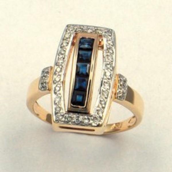 Ювелирное кольцо из красного золота 585 пробы с сапфирами и бриллиантами RS-6160