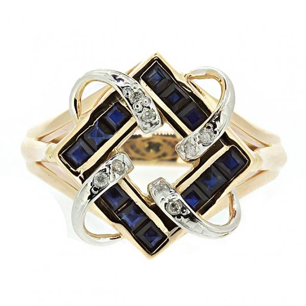 Ювелирное кольцо из красного золота 585 пробы с сапфирами и бриллиантами RS-6165