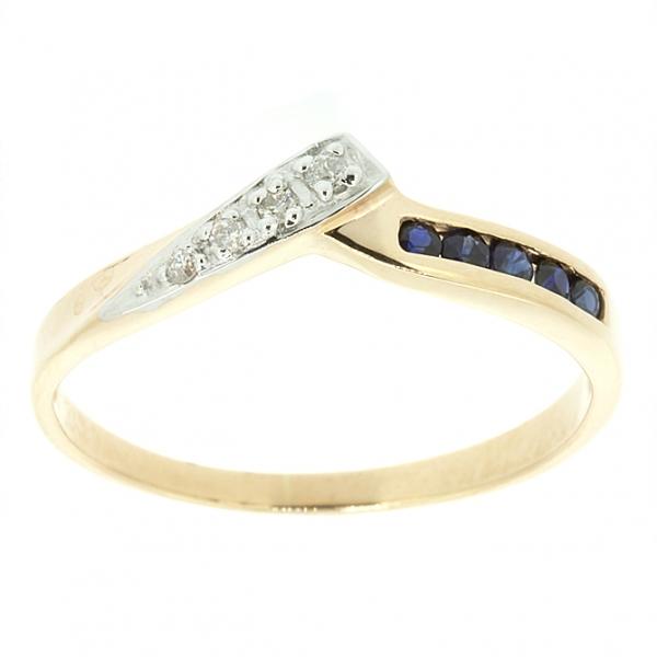 Кольцо из красного золота 585 пробы с сапфирами и бриллиантами RS-8841