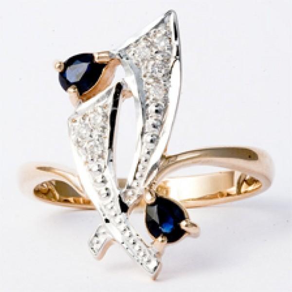 Ювелирное кольцо из красного золота 585 пробы с сапфирами и бриллиантами RS-6149