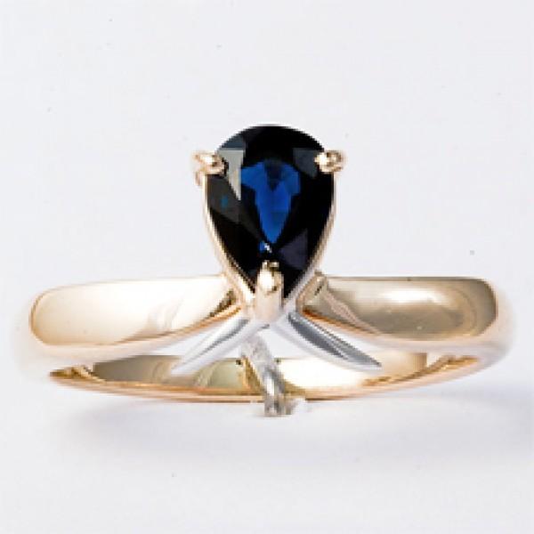 Ювелирное кольцо из красного золота 585 пробы с сапфиром RS-6018