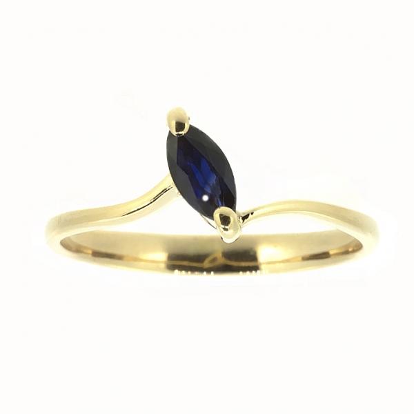 Ювелирное кольцо из красного золота 585 пробы с сапфиром RS-3