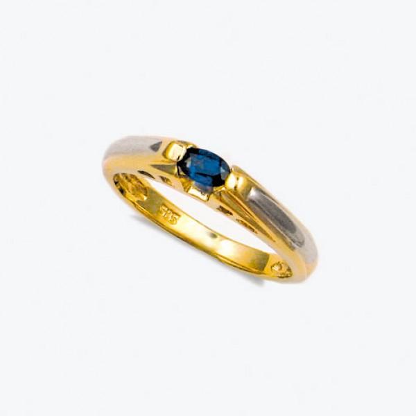 Ювелирное кольцо из красного золота 585 пробы с сапфиром RS-6008
