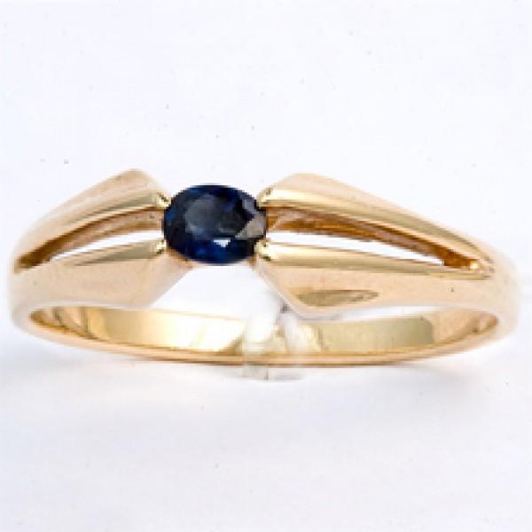 Ювелирное кольцо из красного золота 585 пробы с сапфиром RS-6029