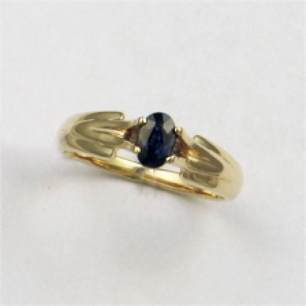 Ювелирное кольцо из красного золота 585 пробы с сапфиром RS-6085