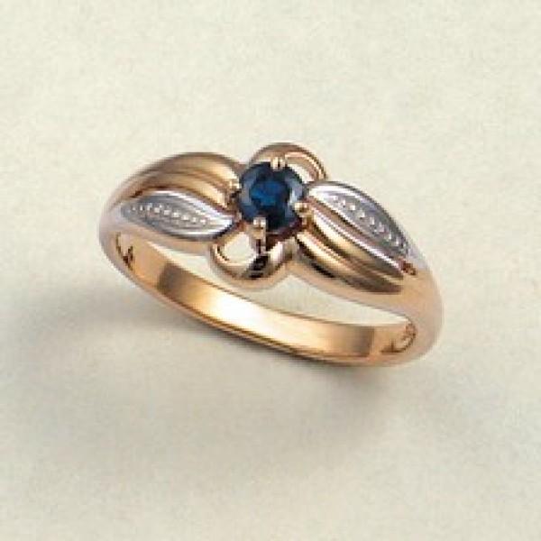 Ювелирное кольцо из красного золота 585 пробы с сапфиром RS-6055