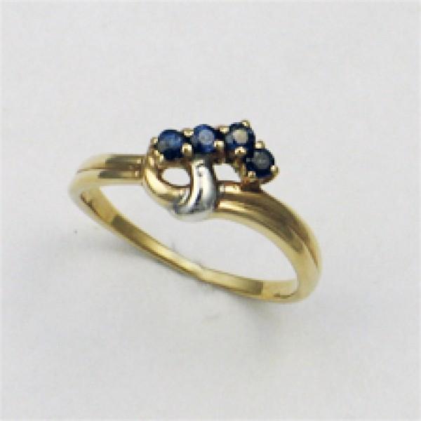 Ювелирное кольцо из красного золота 585 пробы с сапфирами RS-6013