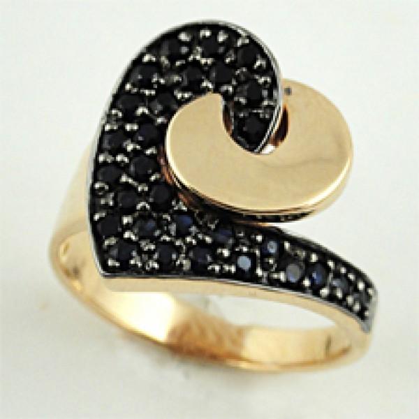 Ювелирное кольцо из красного золота 585 пробы с сапфирами RS-6451