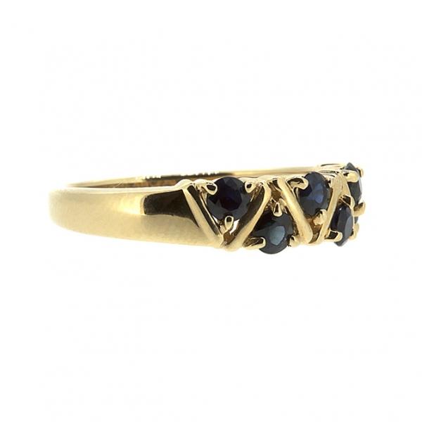 Ювелирное кольцо из красного золота 585 пробы с сапфирами RS-32792