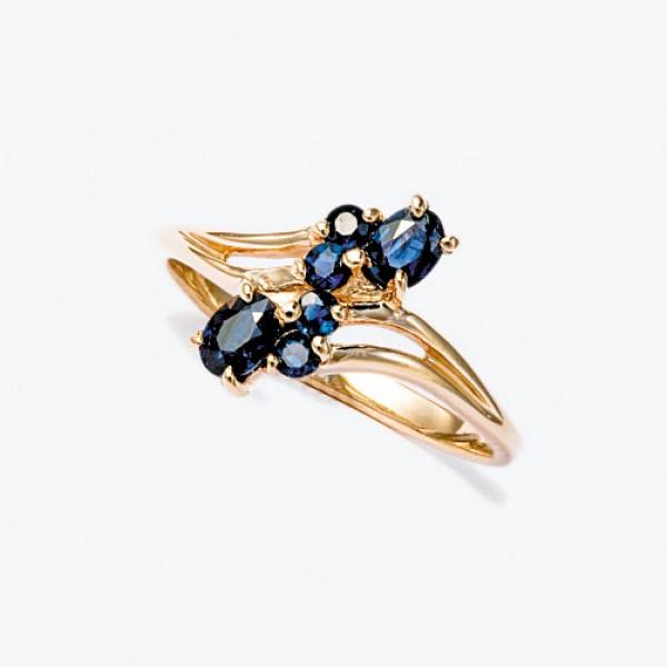 Ювелирное кольцо из красного золота 585 пробы с сапфирами RS-6003