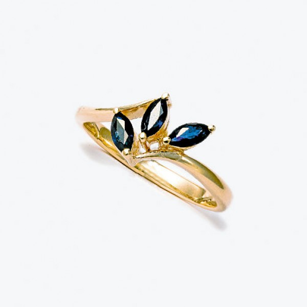 Ювелирное кольцо из красного золота 585 пробы с сапфирами RS-6012
