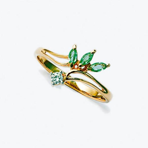 Ювелирное кольцо из красного золота 585 пробы с изумрудами и бриллиантом RE-26
