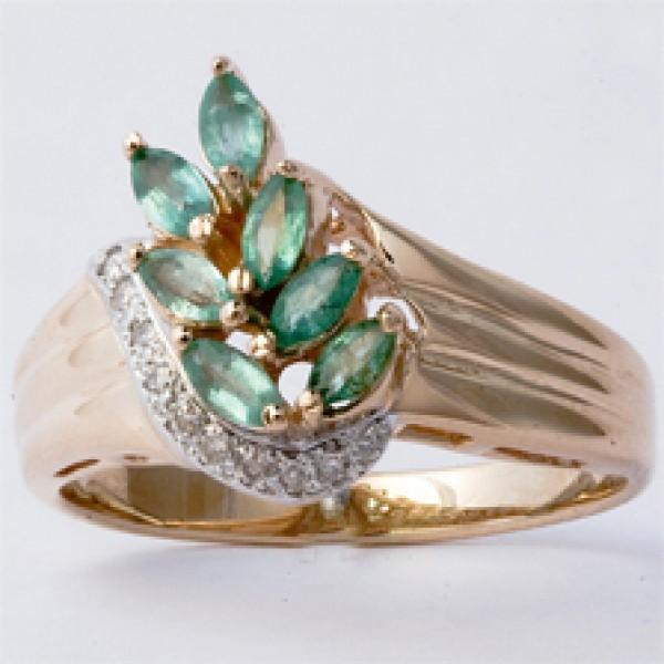 Ювелирное кольцо из красного золота 585 пробы с изумрудами и бриллиантами RE-6090