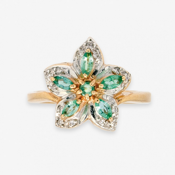 Ювелирное кольцо из красного золота 585 пробы с изумрудами и бриллиантами RE-6142