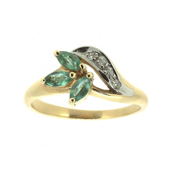 Ювелирное кольцо из красного золота 585 пробы с изумрудами и бриллиантами RE-9002