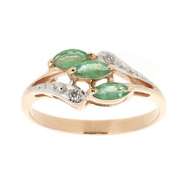 Ювелирное кольцо из красного золота 585 пробы с изумрудами и бриллиантами RE-70016