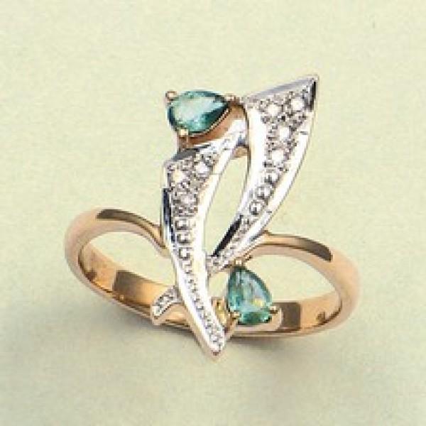 Ювелирное кольцо из красного золота 585 пробы с изумрудами и бриллиантами RE-6149