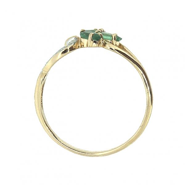 Ювелирное кольцо из красного золота 585 пробы с изумрудами и бриллиантами RE-6536