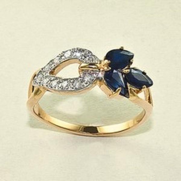 Ювелирное кольцо из красного золота 585 пробы с сапфирами и бриллиантами RS-6536